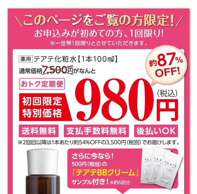 このページをご覧の方限定!お申込みがはじめての方、1回限り!テアテ化粧水とテアテBBクリームが2点セットで1,980円!通常よりも約84%もお得に購入できます。